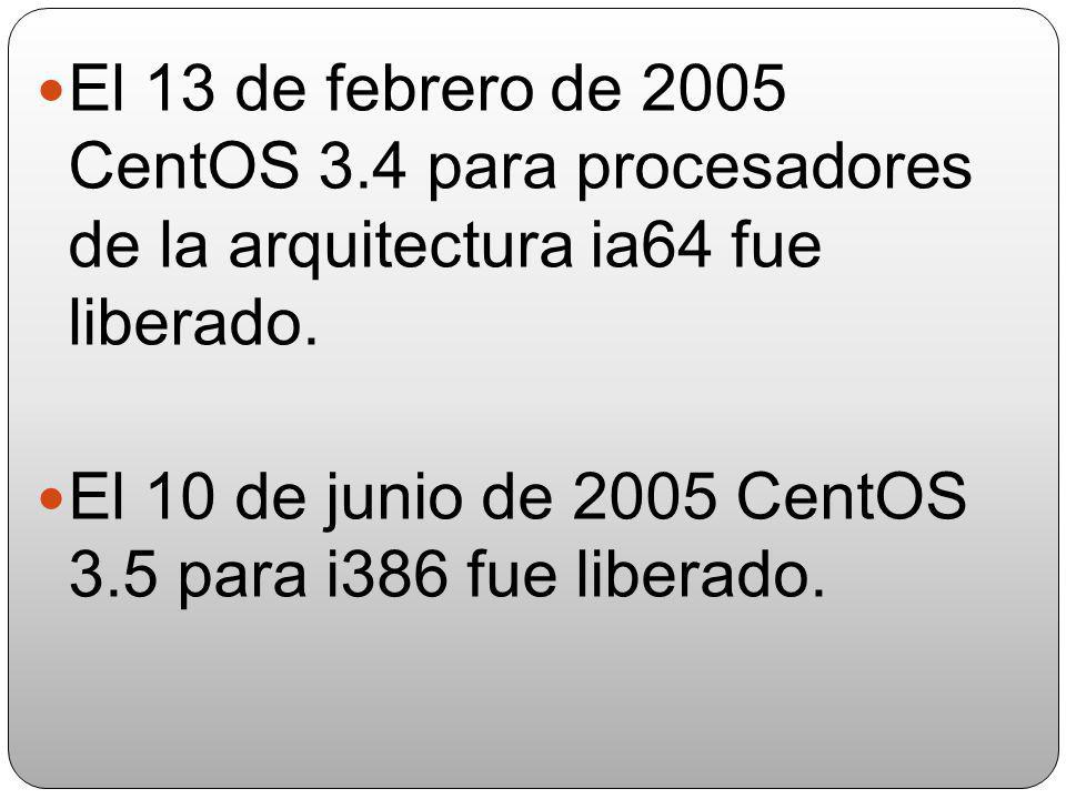 El 13 de febrero de 2005 CentOS 3.4 para procesadores de la arquitectura ia64 fue liberado.