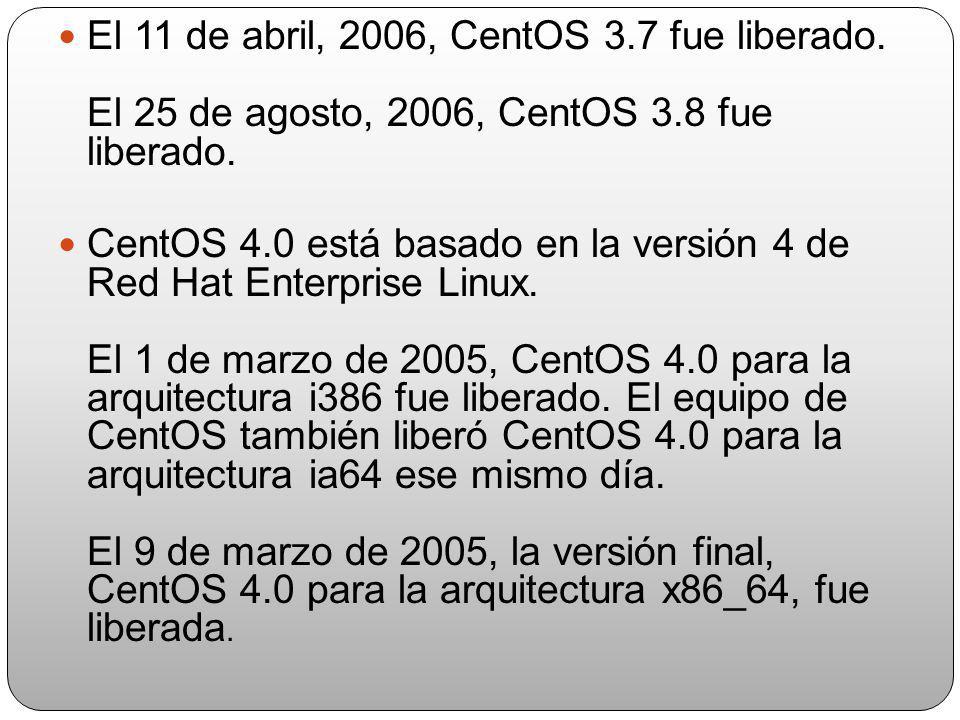 El 11 de abril, 2006, CentOS 3. 7 fue liberado