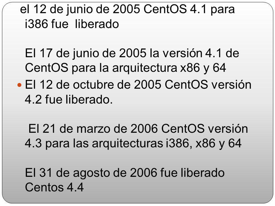 el 12 de junio de 2005 CentOS 4.1 para i386 fue liberado El 17 de junio de 2005 la versión 4.1 de CentOS para la arquitectura x86 y 64