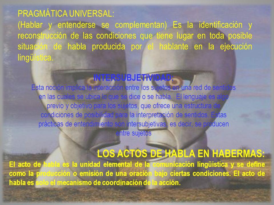 LOS ACTOS DE HABLA EN HABERMAS: