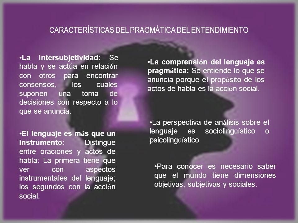CARACTERÍSTICAS DEL PRAGMÁTICA DEL ENTENDIMIENTO