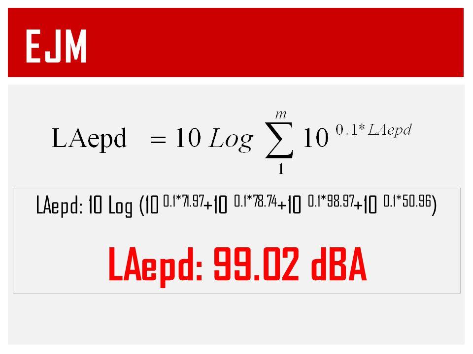 EJM LAepd: 10 Log (10 0.1*71.97+10 0.1*78.74+10 0.1*98.97+10 0.1*50.96) LAepd: 99.02 dBA
