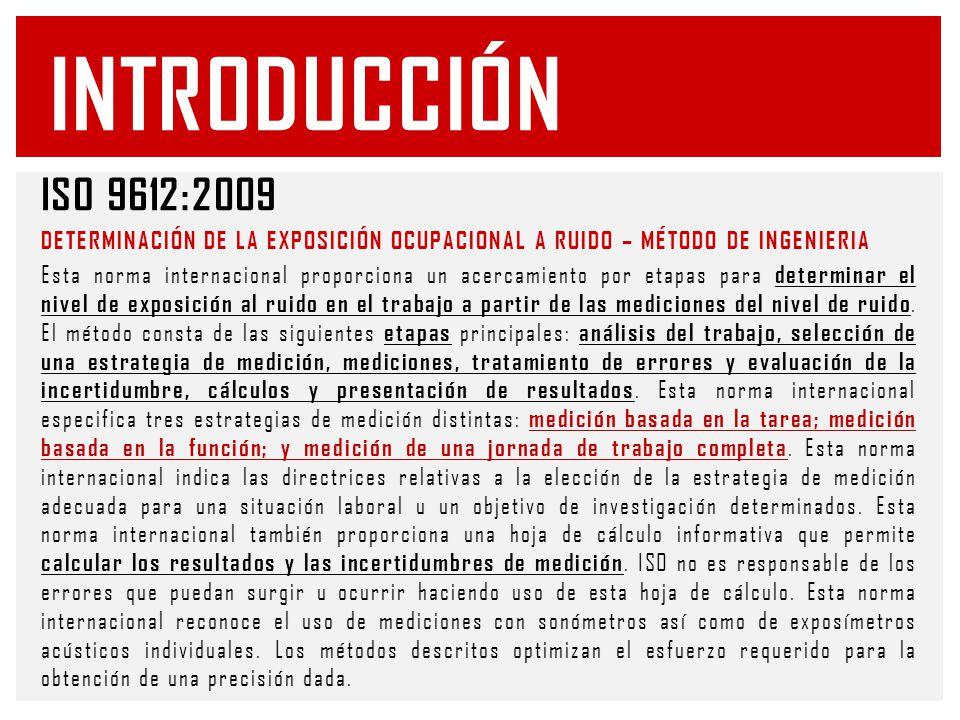 Introducción ISO 9612:2009. DETERMINACIÓN DE LA EXPOSICIÓN OCUPACIONAL A RUIDO – MÉTODO DE INGENIERIA.