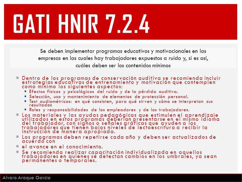 GATI HNIR 7.2.4 Se deben implementar programas educativos y motivacionales en las.