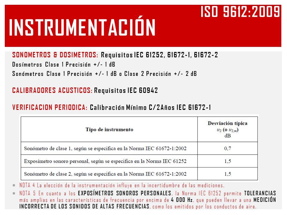 Iso 9612:2009 Instrumentación. SONOMETROS & DOSIMETROS: Requisitos IEC 61252, 61672-1, 61672-2. Dosímetros Clase 1 Precisión +/- 1 dB.