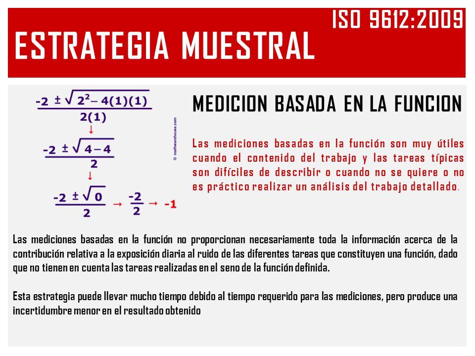 ESTRATEGIA MUESTRAL Iso 9612:2009 MEDICION BASADA EN LA FUNCION