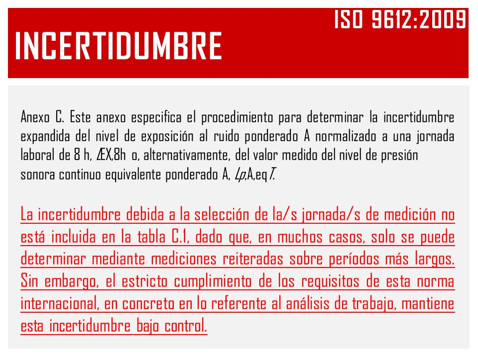Iso 9612:2009 INCERTIDUMBRE.