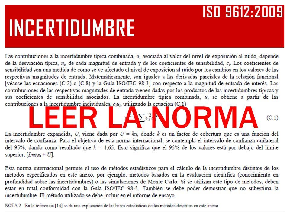 Iso 9612:2009 INCERTIDUMBRE LEER LA NORMA