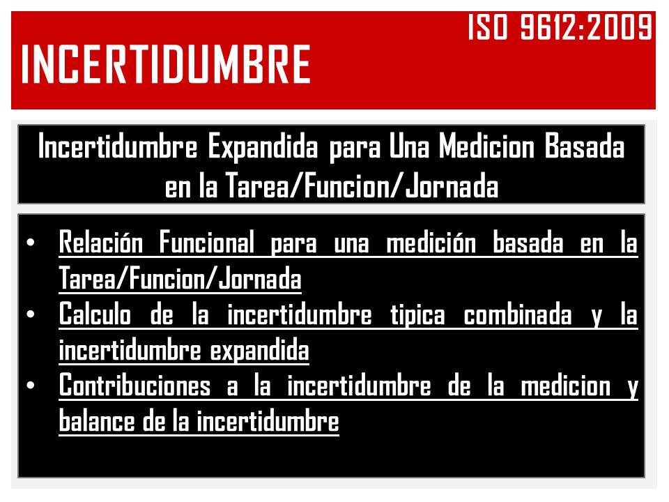 Iso 9612:2009 INCERTIDUMBRE. Incertidumbre Expandida para Una Medicion Basada en la Tarea/Funcion/Jornada.