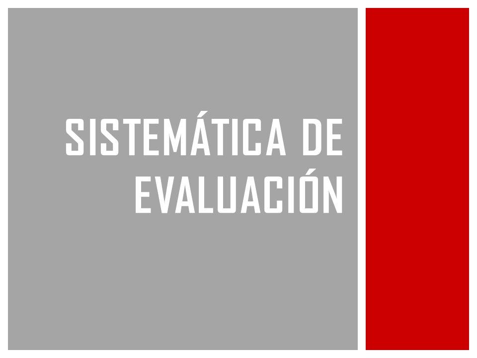 SISTEMÁTICA DE EVALUACIÓN