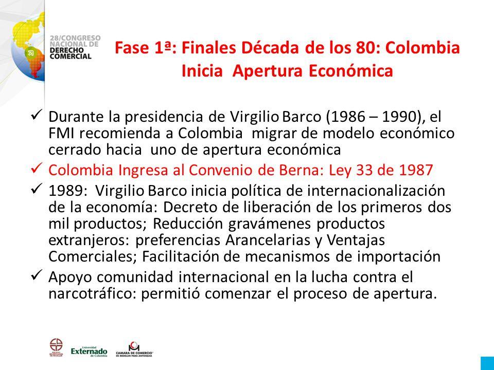 Fase 1ª: Finales Década de los 80: Colombia Inicia Apertura Económica