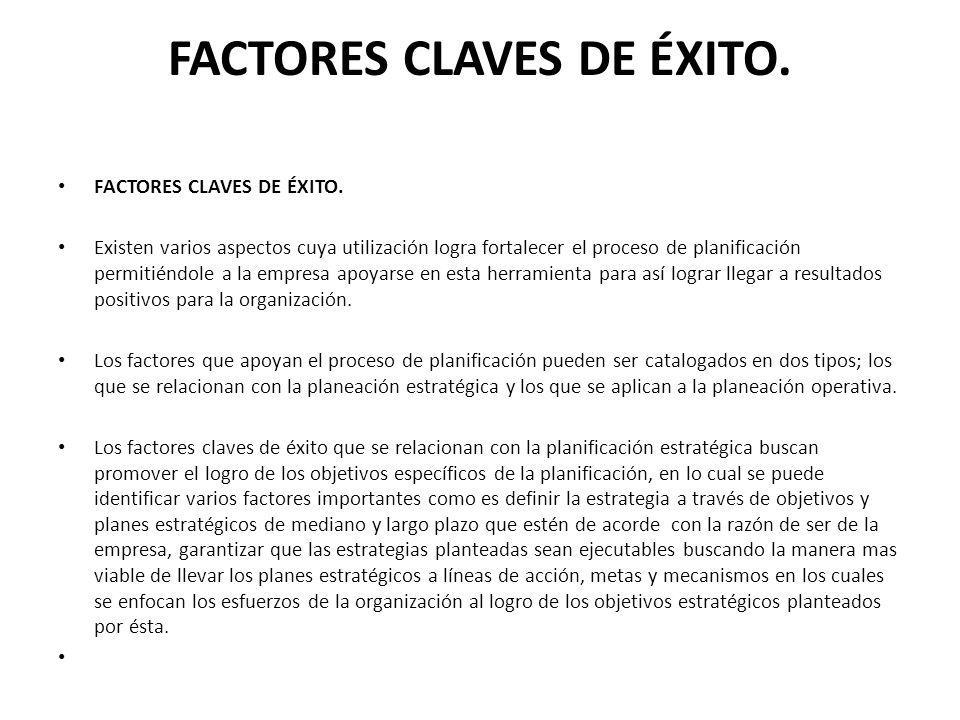 FACTORES CLAVES DE ÉXITO.