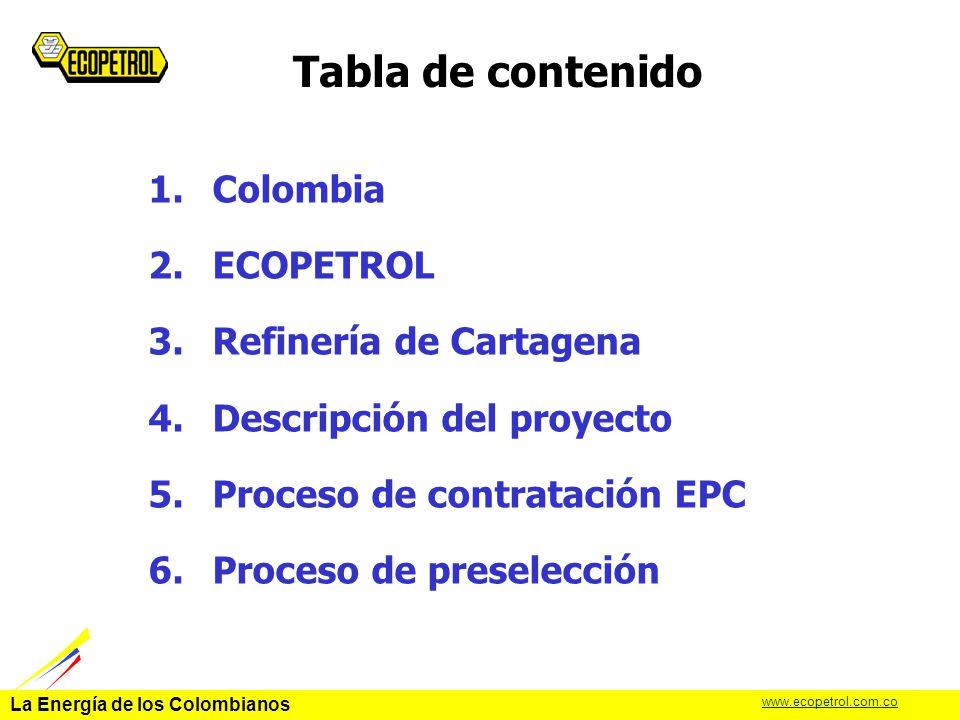 Tabla de contenido Colombia ECOPETROL Refinería de Cartagena