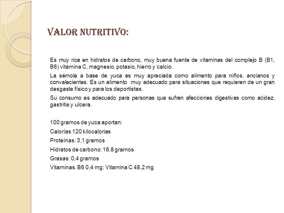 VALOR NUTRITIVO: