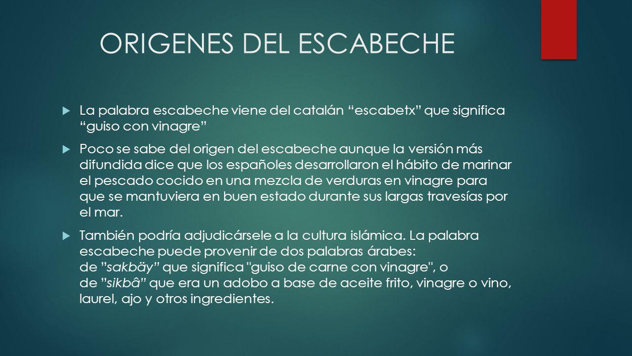 ORIGENES DEL ESCABECHE