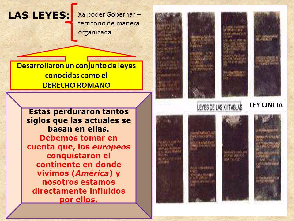 LAS LEYES: Desarrollaron un conjunto de leyes conocidas como el
