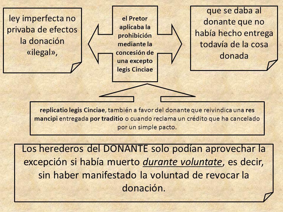 ley imperfecta no privaba de efectos la donación «ilegal»,