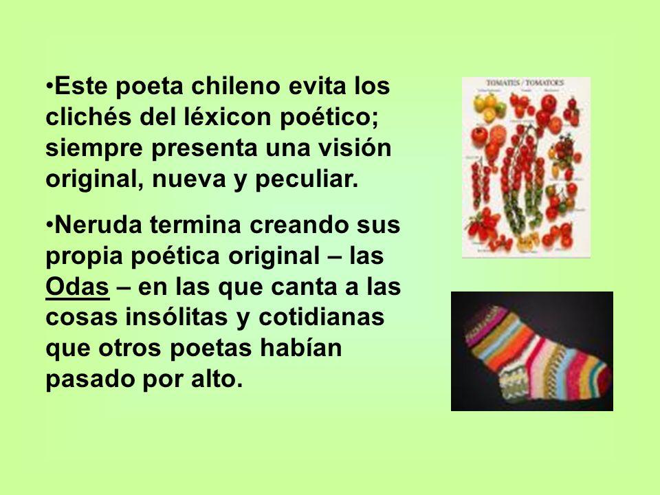 Este poeta chileno evita los clichés del léxicon poético; siempre presenta una visión original, nueva y peculiar.