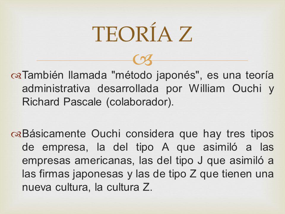 TEORÍA Z También llamada método japonés , es una teoría administrativa desarrollada por William Ouchi y Richard Pascale (colaborador).