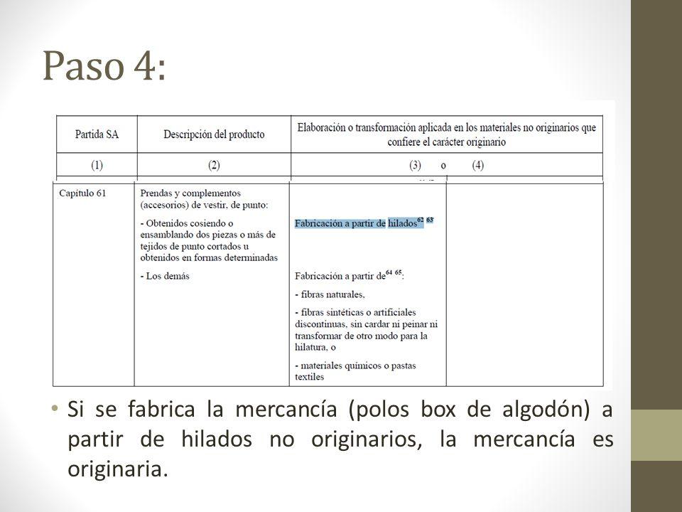 Paso 4: Si se fabrica la mercancía (polos box de algodón) a partir de hilados no originarios, la mercancía es originaria.