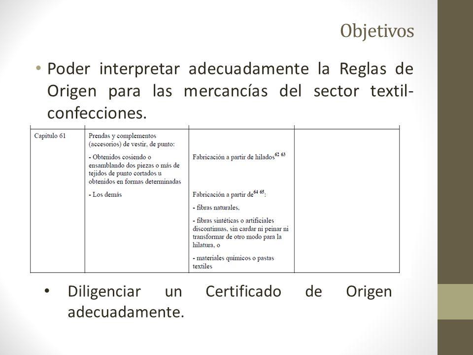 Objetivos Poder interpretar adecuadamente la Reglas de Origen para las mercancías del sector textil-confecciones.