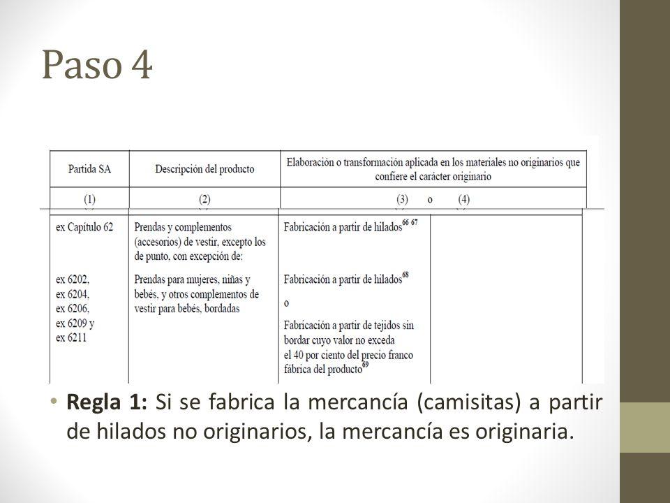 Paso 4 Regla 1: Si se fabrica la mercancía (camisitas) a partir de hilados no originarios, la mercancía es originaria.