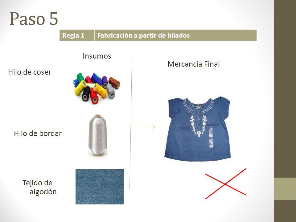 Paso 5 Insumos Mercancía Final Hilo de coser Hilo de bordar