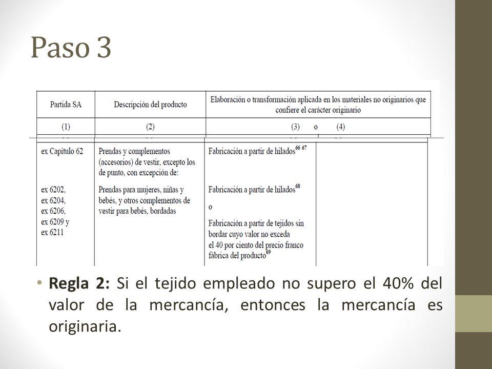 Paso 3 Regla 2: Si el tejido empleado no supero el 40% del valor de la mercancía, entonces la mercancía es originaria.