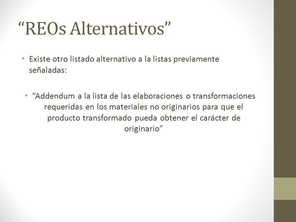 REOs Alternativos Existe otro listado alternativo a la listas previamente señaladas: