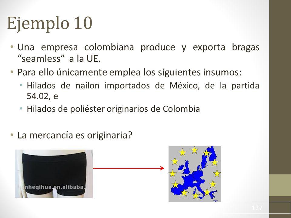 Ejemplo 10 Una empresa colombiana produce y exporta bragas seamless a la UE. Para ello únicamente emplea los siguientes insumos: