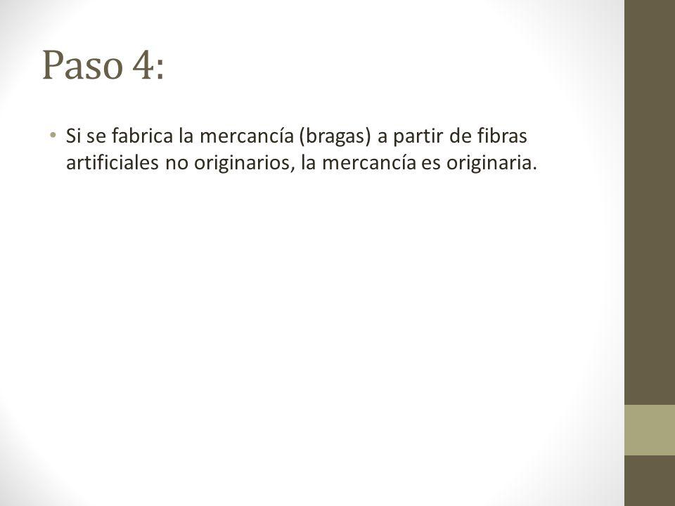 Paso 4: Si se fabrica la mercancía (bragas) a partir de fibras artificiales no originarios, la mercancía es originaria.