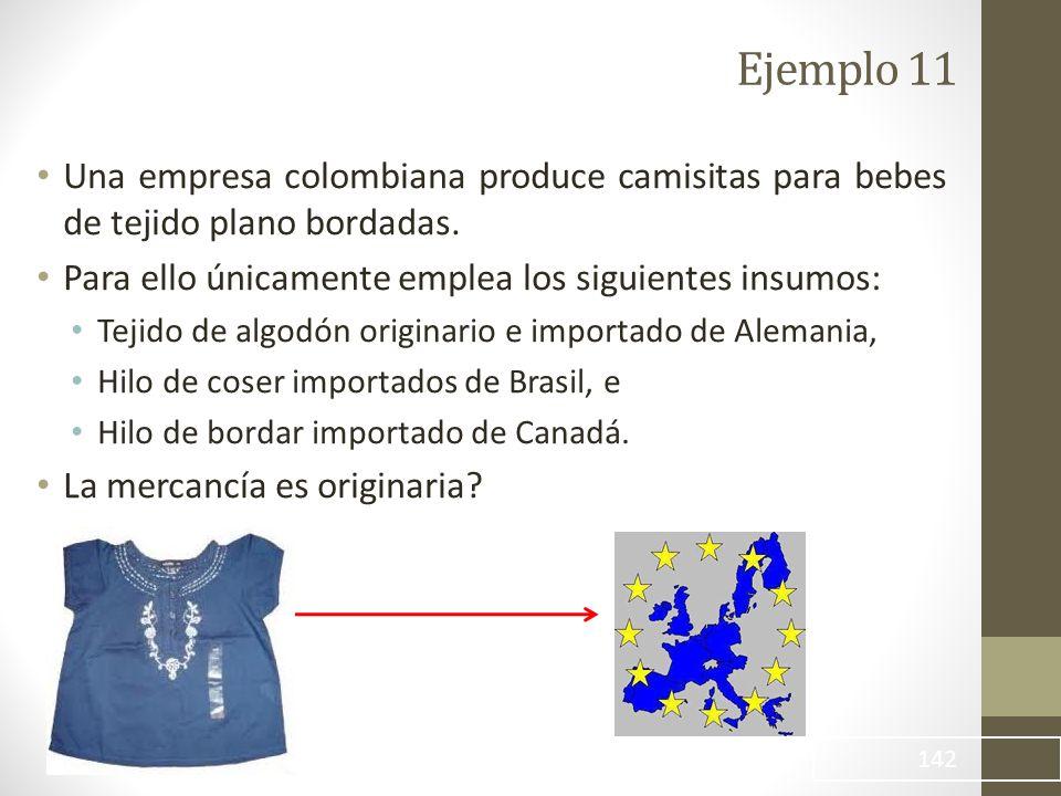 Ejemplo 11 Una empresa colombiana produce camisitas para bebes de tejido plano bordadas. Para ello únicamente emplea los siguientes insumos: