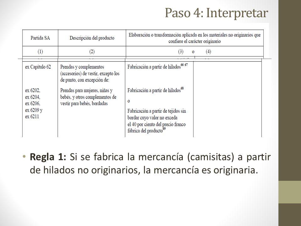 Paso 4: Interpretar Regla 1: Si se fabrica la mercancía (camisitas) a partir de hilados no originarios, la mercancía es originaria.