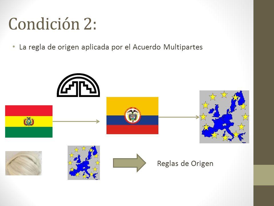 Condición 2: La regla de origen aplicada por el Acuerdo Multipartes
