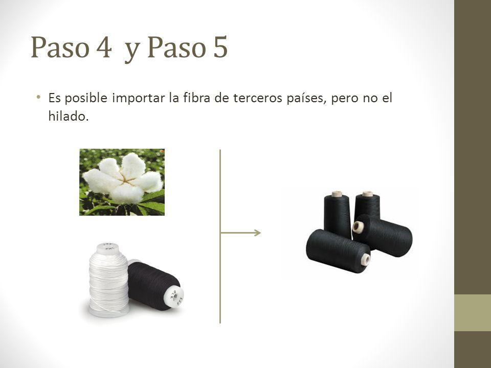 Paso 4 y Paso 5 Es posible importar la fibra de terceros países, pero no el hilado.