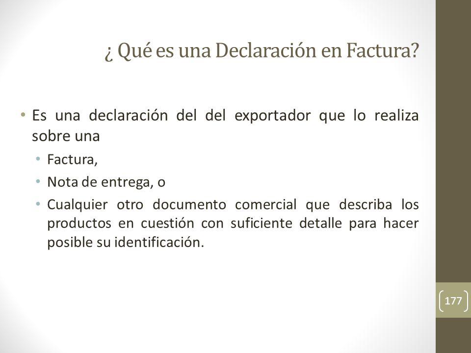¿ Qué es una Declaración en Factura
