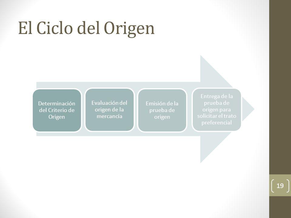 El Ciclo del Origen Determinación del Criterio de Origen