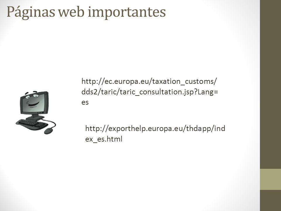 Páginas web importantes