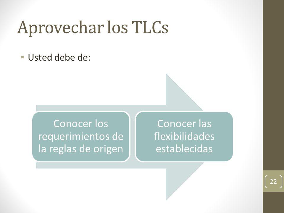 Aprovechar los TLCs Conocer los requerimientos de la reglas de origen