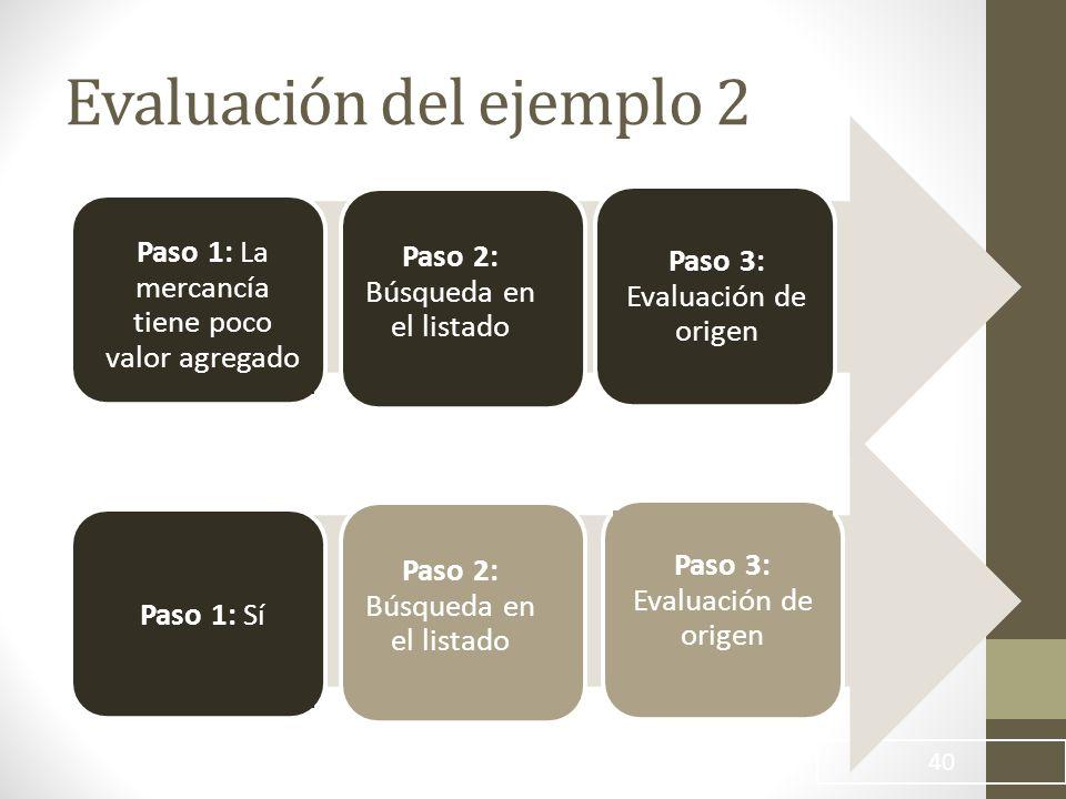 Evaluación del ejemplo 2