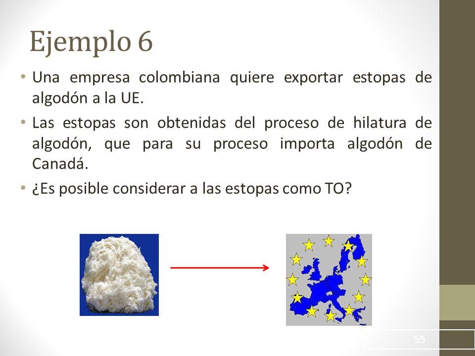 Ejemplo 6 Una empresa colombiana quiere exportar estopas de algodón a la UE.