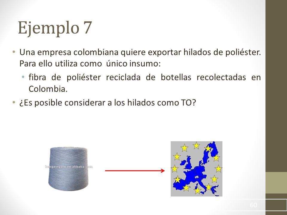 Ejemplo 7 Una empresa colombiana quiere exportar hilados de poliéster. Para ello utiliza como único insumo:
