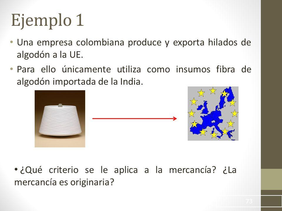 Ejemplo 1 Una empresa colombiana produce y exporta hilados de algodón a la UE.
