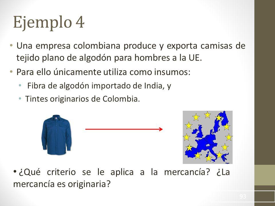 Ejemplo 4 Una empresa colombiana produce y exporta camisas de tejido plano de algodón para hombres a la UE.
