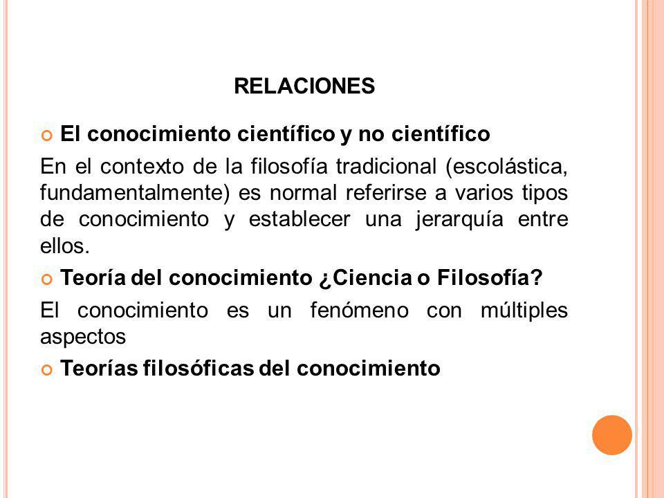 relaciones El conocimiento científico y no científico