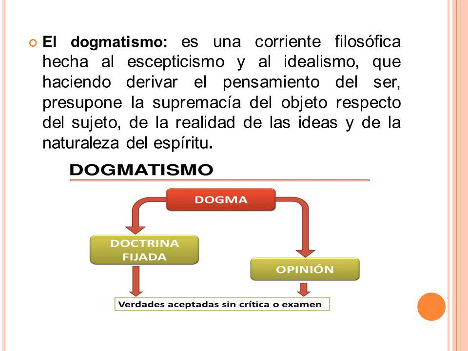El dogmatismo: es una corriente filosófica hecha al escepticismo y al idealismo, que haciendo derivar el pensamiento del ser, presupone la supremacía del objeto respecto del sujeto, de la realidad de las ideas y de la naturaleza del espíritu.