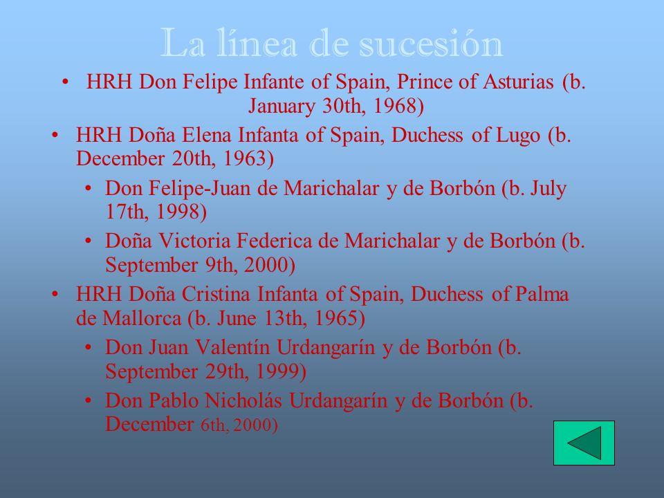 La línea de sucesión HRH Don Felipe Infante of Spain, Prince of Asturias (b. January 30th, 1968)