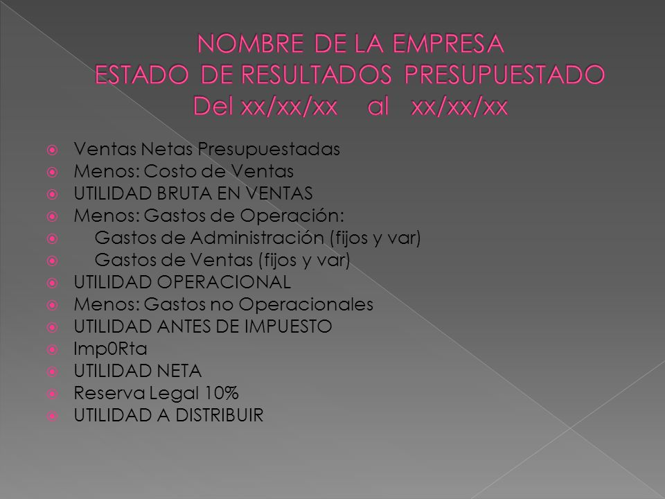 NOMBRE DE LA EMPRESA ESTADO DE RESULTADOS PRESUPUESTADO Del xx/xx/xx al xx/xx/xx