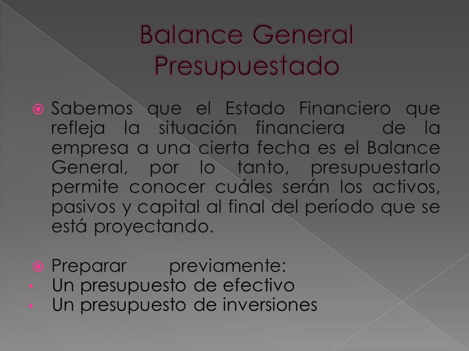 Balance General Presupuestado