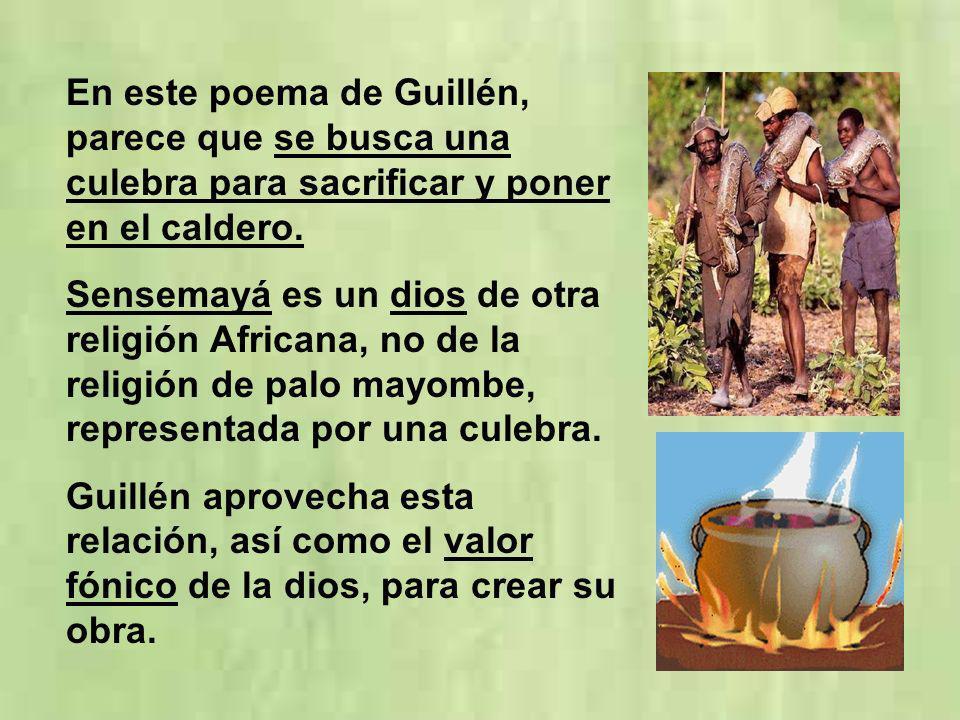 En este poema de Guillén, parece que se busca una culebra para sacrificar y poner en el caldero.